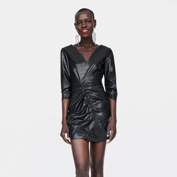 ZARA Dresses & Skirts - ZARA BLACK FAUX LEATHER DRAPED MINI DRESS